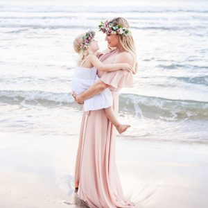 bridesmaid mum and daughter on the beach